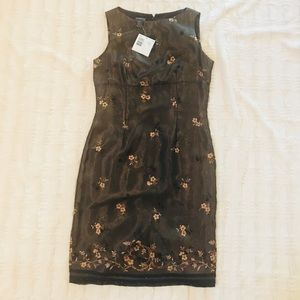 Liz Claiborne silk dress with beaded detail NWT